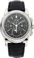 Timepieces:Wristwatch, Patek Philippe Ref. 5970P-001 Fine and Rare Platinum Perpetual Calendar Chronograph With Moon Phases. ...