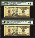 Fr. 2039-B* $10 2004A Federal Reserve Star Notes. Two Examples. PMG Superb Gem Unc 68 EPQ