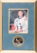 Autographs:Celebrities, Neil Armstrong Signed White Spacesuit Color Photo, Uninscribed, inFramed Display by Novaspace with Their COA....