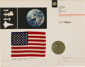 Explorers:Space Exploration, Apollo 17 Flown American Flag on Presentation Certificate....