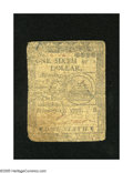 Colonial Notes:Continental Congress Issues, Continental Currency February 17, 1776 $1/6 Good-Very Good. Thisnote has a Fugio Cent like back....