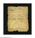 Colonial Notes:Continental Congress Issues, Continental Currency February 17, 1776 $1/2 Good-Very Good. Paperloss is noticed along the center fold and also along the b...