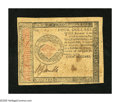 Colonial Notes:Continental Congress Issues, Continental Currency January 14, 1779 $4 Fine-Very Fine. Anapproximate half inch split is found at center....