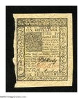 Colonial Notes:Delaware, Delaware January 1, 1776 6s Choice New. A near gem example of thiscolonial type that has superb signatures and serial numbe...