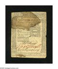 Colonial Notes:Pennsylvania, Pennsylvania October 25, 1775 15s About New. This one fold note hasa large spot....