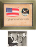 Explorers:Space Exploration, Apollo 11 Flown American Flag on Presentation Signed by Armstrongand Aldrin in Framed Display, with Aldrin-Signed Photo of Pr...(Total: 2 Items)
