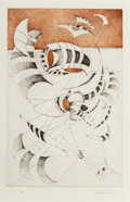 Fine Art - Work on Paper:Print, Lee Bontecou (b. 1931). Untitled, from NationalCollection of Fine Arts Portfolio, 1967. Etching with aquatinton Sa...