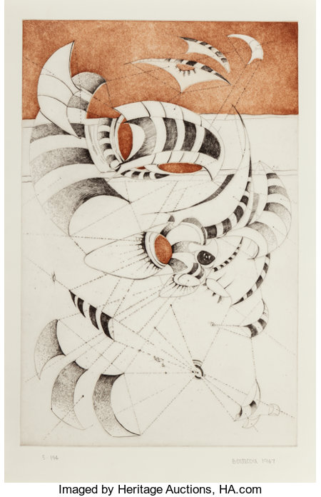 Lee Bontecou (b. 1931)Untitled, from National Collection of Fine Arts Portfolio, 1967Etching with aquatint on Sa...