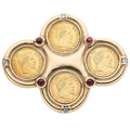 Estate Jewelry:Brooches - Pins, Diamond, Ruby, Gold Coin, Gold Brooch. ...