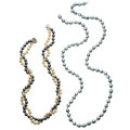 Estate Jewelry:Necklaces, Cultured Pearl, Gold, White Metal Necklaces. ... (Total: 2 Items)
