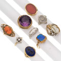 Estate Jewelry:Rings, Diamond, Multi-Stone, Freshwater Cultured Pearl, Gold Rings. ... (Total: 9 Items)