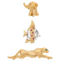 Estate Jewelry:Brooches - Pins, Diamond, Multi-Stone, Gold Brooches. ... (Total: 3 Items)