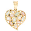 Estate Jewelry:Pendants and Lockets, Mother-of-Pearl, Sapphire, Gold Pendant. ...