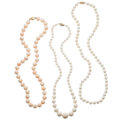 Estate Jewelry:Necklaces, Coral, Gold Necklaces . ... (Total: 3 Items)