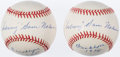 "Autographs:Baseballs, Sam Nahem Single Signed Baseball Pair (2) - With ""Subway"" &""Brooklyn 1938"" Inscriptions. ..."