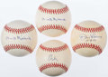 Autographs:Baseballs, Pitching Greats Single Signed Baseball Quartet (4) - Niekro,Larsen, & Maddux....