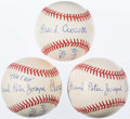 Autographs:Baseballs, Frank Crosetti Single Signed Baseballs Lot of 3 - WithInscriptions. ...
