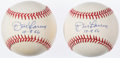 "Autographs:Baseballs, Don Larsen ""10-8-56"" Single Signed Baseball Pair (2). ..."