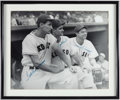 Autographs:Photos, Ted Williams, Bobby Doerr and Dom DiMaggio Multi-Signed PhotographDisplay. ...