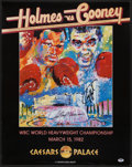 Boxing Collectibles:Autographs, 1982 Larry Holmes Vs. Gerry Cooney Multi Signed LeRoy Neiman FightPoster. ...