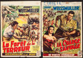"Movie Posters:Adventure, Jungle Jim in the Forbidden Land & Other Lot (Columbia, 1952).Trimmed Belgians (2) (Approximately 14"" X 19.25""). Adventure....(Total: 2 Items)"