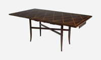 Tommi Parzinger (American/German, 1903-1981) Extending Drop-Leaf Dining Table, circa 1951 Mahogany a
