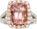 Estate Jewelry:Rings, Ceylon Padparadscha Sapphire, Diamond, Platinum Ring. ...