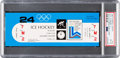 Miscellaneous Collectibles:General, 1980 Lake Placid Winter Olympic Games USA Hockey Team vs. Finland (Final Game) Full Ticket, PSA/DNA NM-MT 8....