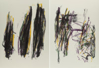 Joan Mitchell (1926-1992) Trees II, diptych, 1992 Lithographs in colors on wove paper 57 x 41 inc