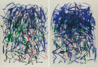 Joan Mitchell (1926-1992) Sunflowers II, diptych, 1992 Lithographs in colors on wove paper 57 x 4