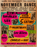 Music Memorabilia:Posters, Shirley And Lee/Five Satins Indian Spring Country Club ConcertPoster (1958). Extremely Rare....