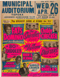 Music Memorabilia:Posters, Bo Diddley/Fats Domino Municipal Auditorium Biggest Show Of Stars Concert Poster (1961). Extremely Rare....