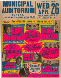 Bo Diddley/Fats Domino Municipal Auditorium Biggest Show Of Stars Concert Poster (1961). Extremely Rare