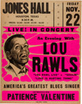 Music Memorabilia:Posters, Lou Rawls Autographed Jones Hall Concert Poster (1968). Extremely Rare....