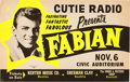 Music Memorabilia:Posters, Fabian Civic Auditorium Concert Poster (circa early 1960s).Extremely Rare....