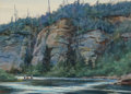 Fine Art - Work on Paper, Ogden Minton Pleissner (American, 1905-1983). The Cliffs at BigSalmon. Watercolor on card. 17-1/4 x 24 inches (43.8 x 6...