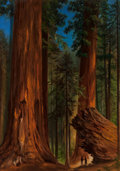 Fine Art - Painting, American, Gilbert Davis Munger (American, 1837-1903). Redwood Forest,Yosemite Valley. Oil on board laid on panel. 27-1/4 x 19-5/8...