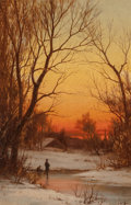 Paintings, Bruce Crane (American, 1857-1937). Sunset: Woods and Pond, circa 1885. Oil on canvas. 18 x 12 inches (45.7 x 30.5 cm). S...
