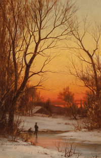 Bruce Crane (American, 1857-1937) Sunset: Woods and Pond, circa 1885 Oil on canvas 18 x 12 inches