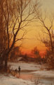 Bruce Crane (American, 1857-1937) Sunset: Woods and Pond, circa 1885 Oil on canvas 18 x 12 inches (45.7 x 30.5 cm) S