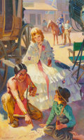 Fine Art - Painting, American, Harold Anderson (American, 1894-1973). A Moment Off-Stage,possible Coca-Cola advertisement, 1945. Oil on canvas.44-1/2...