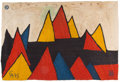 Fine Art - Work on Paper:Drawing, After Alexander Calder (American, 1898-1976). PyramidsTapestry, 1975. Handwoven jute maguey. 56-1/2 x 83-1/2 inches(14...