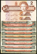 Canadian Currency: , Canada $2 Bank of Canada.. BC-38a 1954;. BC-38b 1954 (6);. BC-38bA1954, stained asterisk note;. BC-55c 1986 Two Consecutive...(Total: 10 notes)