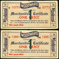 Canadian Currency: , Canada Woodward Stores Limited Merchandise Certificate 1¢ 7.(19)36Two Examples.. ... (Total: 2 notes)
