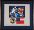 Explorers:Space Exploration, Apollo 12 Flown American Flag on Crew-Signed Mat Originally from the Personal Collection of Mission Lunar Module Pilot Alan Be...