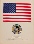 Explorers:Space Exploration, Apollo 12 Lunar Module Flown Large Size American Flag and Patch ona Crew-Signed Presentation Mat Directly from the Family Col...