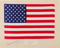 Explorers:Space Exploration, Apollo 12 Lunar Module Flown Largest Size American Flag on aCrew-Signed Presentation Mat Directly from the Family Collection...