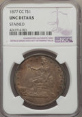 Trade Dollars, 1877-CC T$1 -- Stained -- NGC Details. Unc....