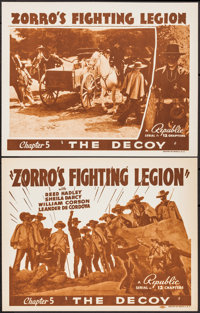 "Zorro's Fighting Legion (Republic, 1939). Title Lobby Card & Lobby Card (11"" X 14"") Chapter 5 -- ""..."
