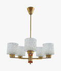 Decorative Arts, Continental, Carl Fagerlund (Swedish, 20th Century). Five-LightChandelier, circa 1955, Orrefors. Molded clear and coloredglass, bra...